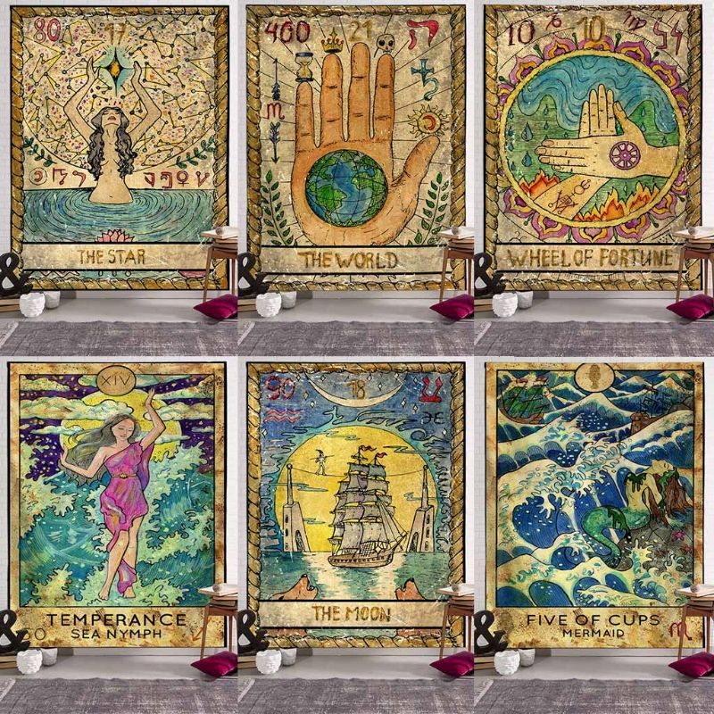 Tarot Tablecloth Astrology Mysterious Tarot Tapestry Room Sofa Cover 150*100cm