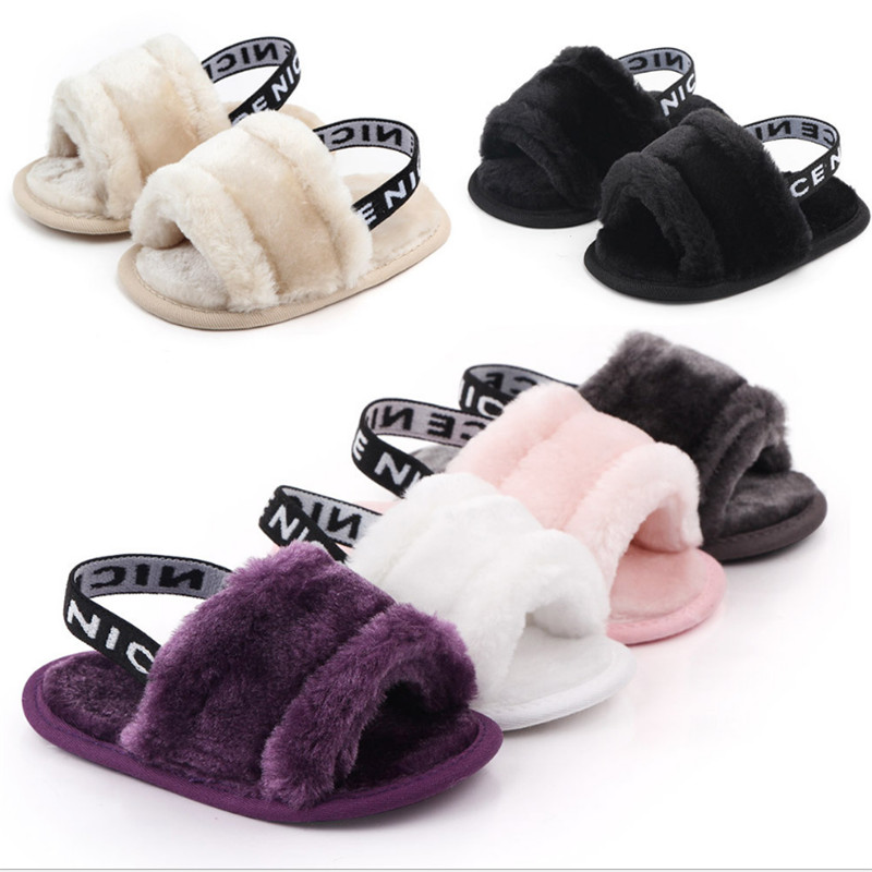 Summer Soft Hair Style Classic Baby Girls Letter Print Slipper Sandals Breathable Baby Fur Shoes Simple Elastic Princess Sandals