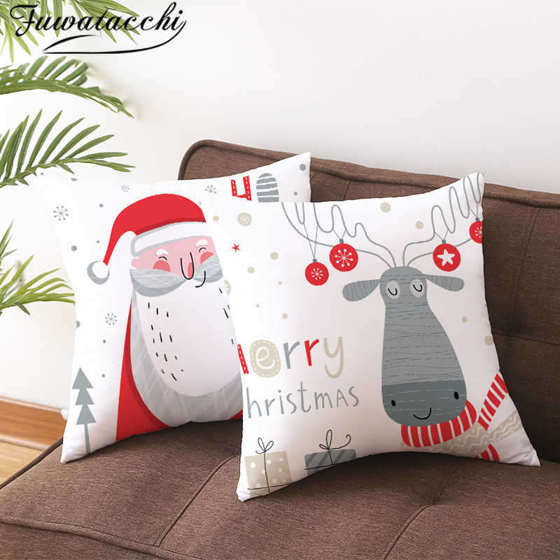 Fuwatacchi Christmas Pattern Cushion Cover Cute Gift Decorative Pillow Covers For Home Sofa Polyester Throw Pillowcases 45*45cm