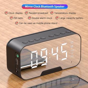 Reloj alarma LED con Radio FM, altavoz inalámbrico con Bluetooth, compartición de pantalla, soporta Subwoofer, música, despertador, reloj de sobremesa