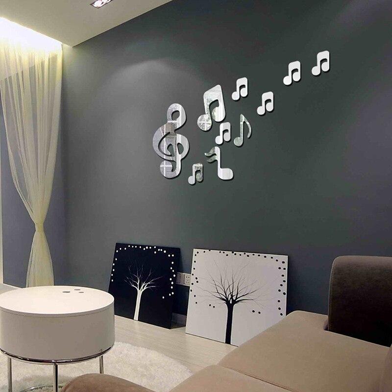 Музыкальные нотки наклейки на стену зеркальная поверхность diy