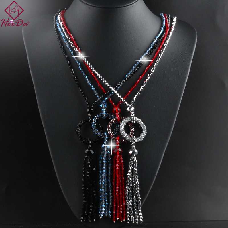 2020 New Fashion Simple Round Tassel Long Necklace Women Graceful Joker Shiny Crystal Beads Sweater Chain Lady Date Jewelry