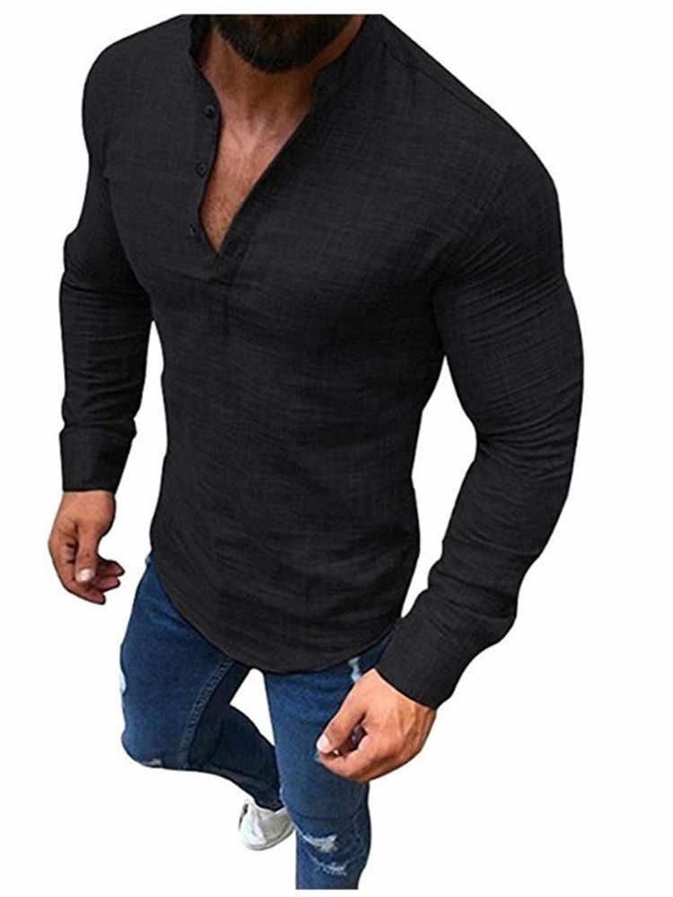 H hombres moda negro blanco suelta camisa de manga larga solapa camisa Casual ropa masculina comodidad Top talla grande