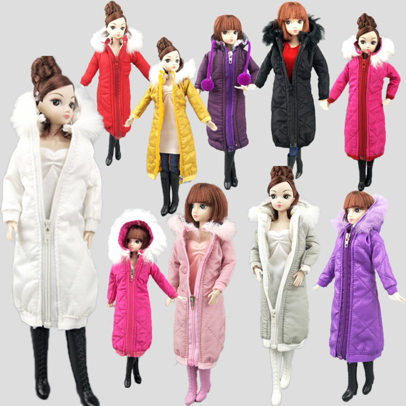 Pretty Long Coat Cotton Dress For Barbie Doll Clothes Parka For  1/6 BJD Doll Kids Toy Winter Wear Jacket Dolls Accessories Gift
