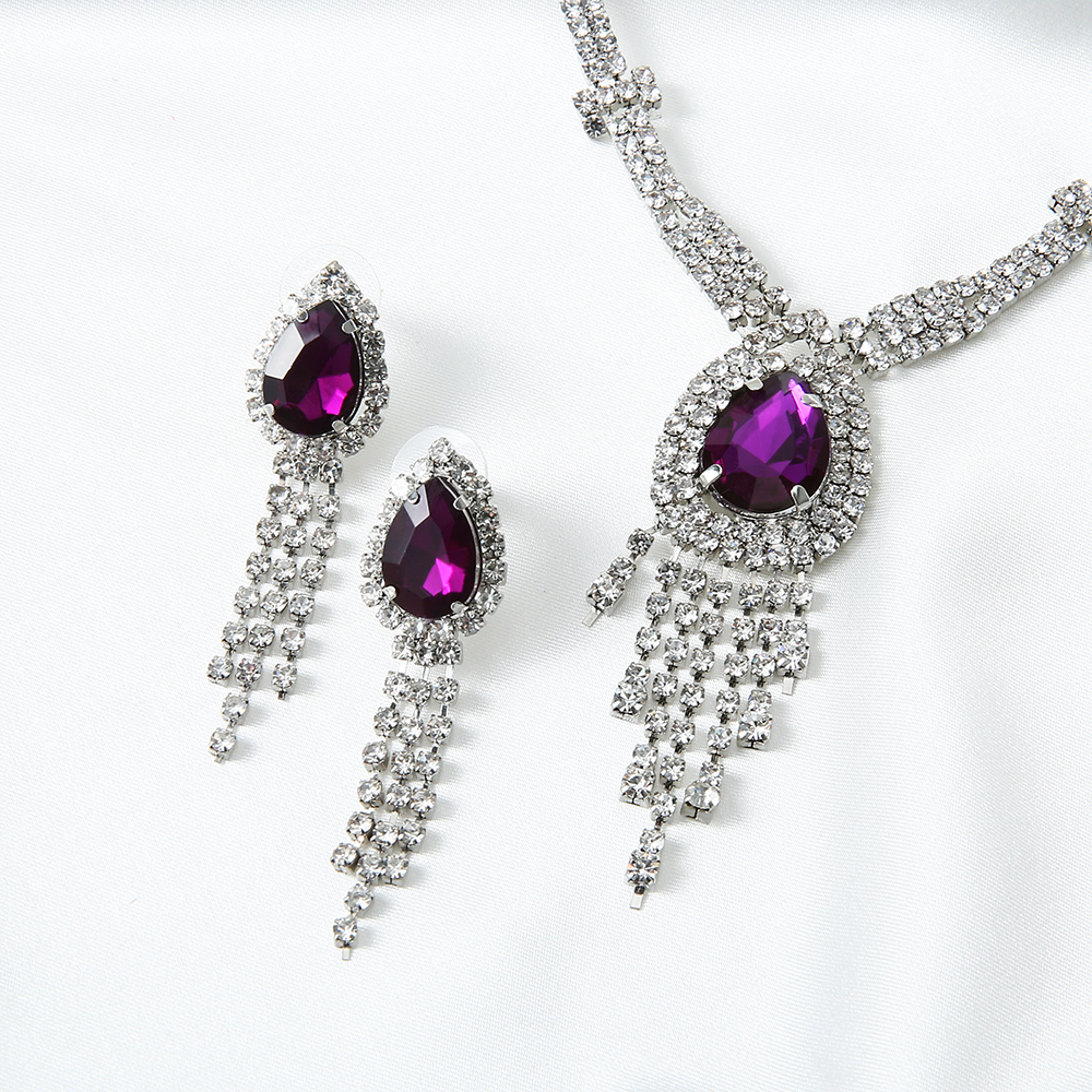 Bohemia Red Acrylic Stone Necklace Earrings for Women Girls Wedding Party Jewelry Set Gift Vintage Dubai Crystal Neck Jewellery