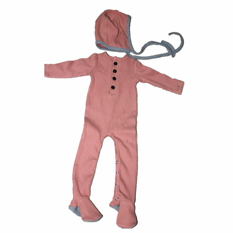 New Autumn Ribbed Baby Clothes Baby Romper With Bonnet Fashion Clothes