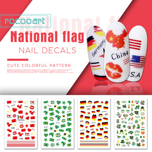 Rocooart National Flag Nail Sticker Germany Ireland Brazil USA Flag Adhesive DIY Manicure Foil Nail Art Tips Decorations Decals(China)