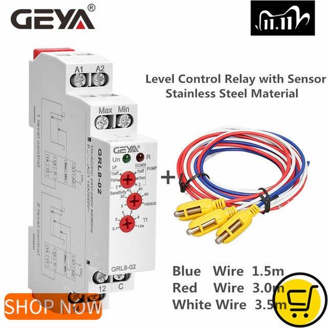 GEYA GRL8 Liquid Level Control Relay Electronic Liquid Level Controller 10A  AC/DC24V 240V