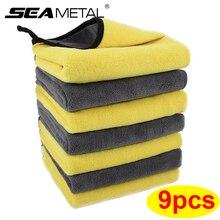 Салфетка из микрофибры для чистки Полотенца 3/6/9 шт потребительских упаковок для микро волокна мыть Полотенца s для автомобиля двойной Слои ...