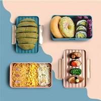 귀여운 점심 상자 학생 bento 상자 젓가락 누출 증거 피크닉 상자 가정용 과일 상자