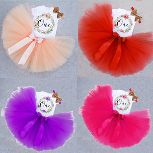 12 Months Baby Girls Pink Tulle Tutu Dress Birthday Party 3pcs Set For 1st Birthday Tollder Girl Letter Print Outfits 1 Year old