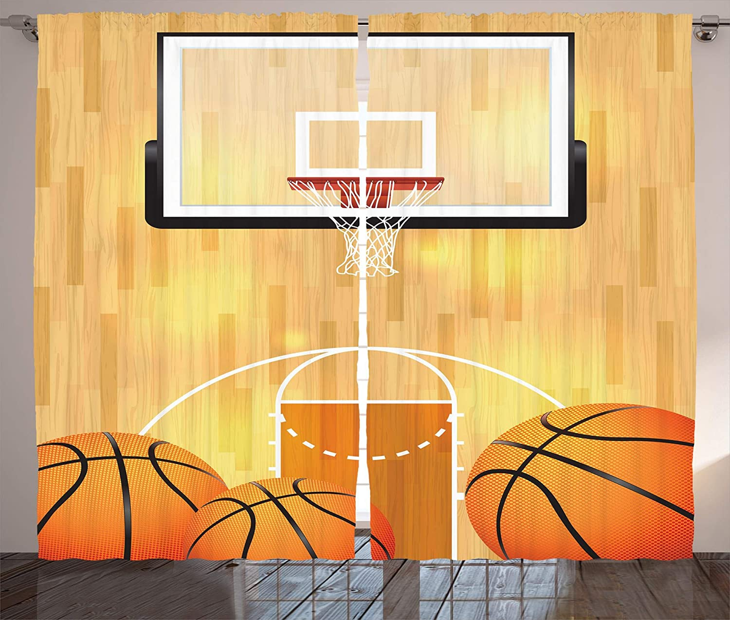 Sports Curtains Vivid Basketball Court Balls And Hoop Madness Rim Court Parquet Hardwood Living Room Bedroom Window Curtain