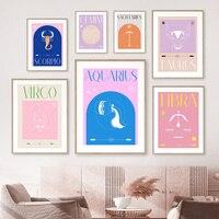12 Constelaciones del zodiaco, cáncer, Virgo, Leo, cuadro sobre lienzo para pared, carteles nórdicos e impresiones de imágenes de pared para decoración para sala de estar