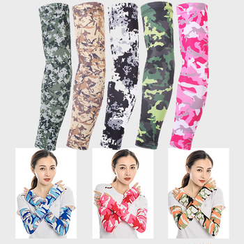 1Pair Milk Ice Silk Sleeves Anti UV Riding Fishing Sports Cold Summer Arm  Sleeve Gloves Portector Cover Camouflage Printed