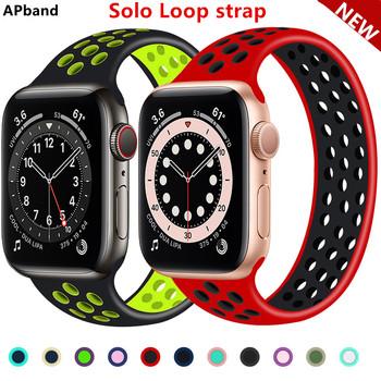 Pasek z pętlą Solo dla Apple Watch Band 44mm 40mm 38mm 42mm oddychający silikonowy pasek z elastyczną bransoletką zespół iWatch seria 3 4 5 SE 6 tanie i dobre opinie apband CN (pochodzenie) inny Paski do zegarków Nowość bez znaczków 44 42 40 38 mm for applewatch aple aplle applle i watch 3 2 1