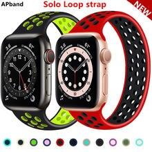 Ремешок solo loop для apple watch band 44 мм 40 38 42 Воздухопроницаемый