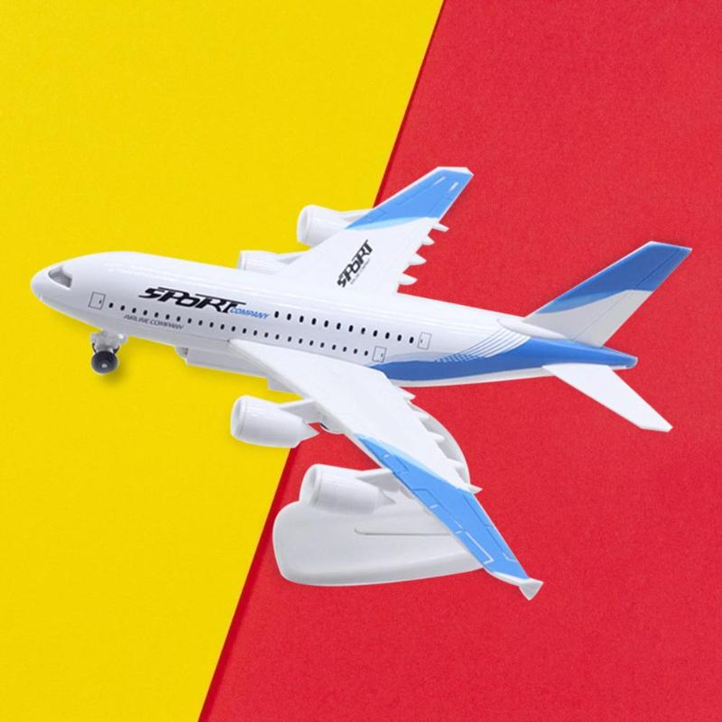 Durable 23cm Music Light Alloy <font><b>Airbus</b></font> <font><b>A380</b></font> <font><b>Model</b></font> Simulation Airplane Toys Pull Back With Display Stand Pull <font><b>Model</b></font> Kids Gifts image