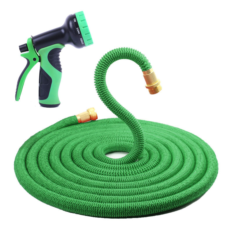 75FT New Style Europe And America Copper Natural Rubber Household Car Washing Gun Cold Freezing Three Times Telescopic Pipe