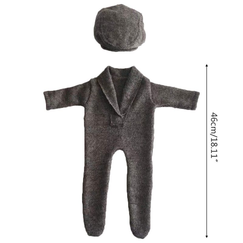 2Pcs Newborn Photography Props Suit Romper Hat Set Long Sleeve Jumpsuits Outfit K1KC