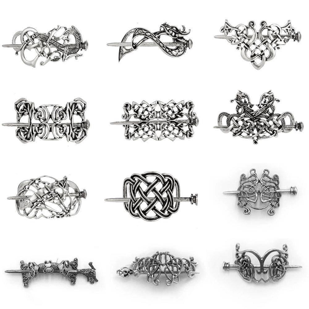 Vintage Norse Stick Slide Viking Hairpins Celtics Knots Hair Clip For Women