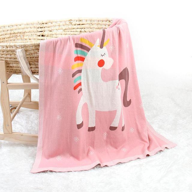 Manta de punto unicornio rosa 1