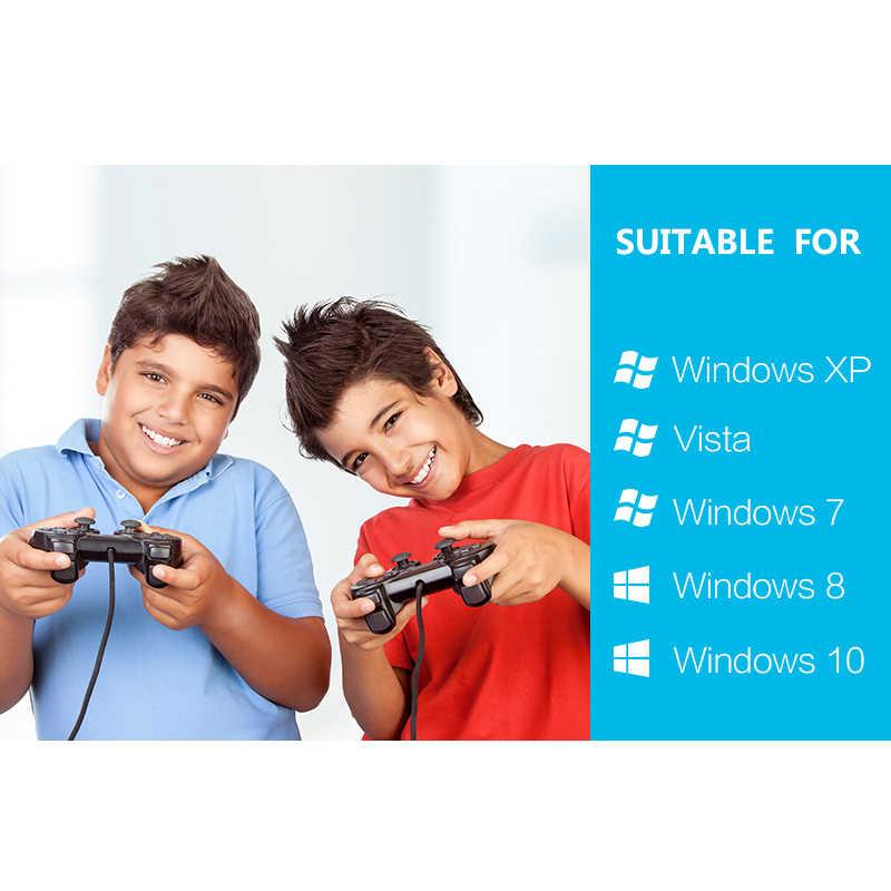 Veri kurbağa 2 adet titreşim denetleyici kablolu USB PC Joystick PC bilgisayar Laptop için WinXP/Win7/Win8/win10 USB Joystick