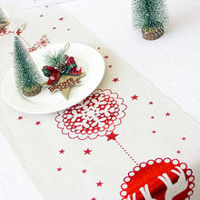 New Year Table Runners Christmas Decoration Tablecloth Creative Cotton Print Flag Desktop