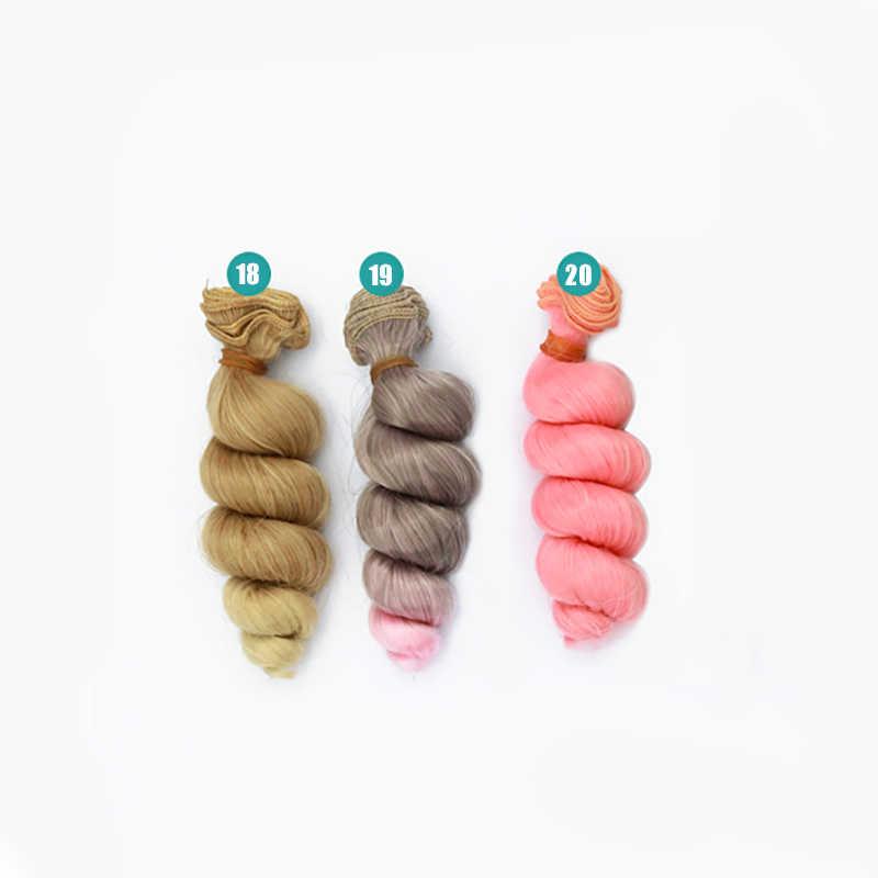 15 cm yüksek sıcaklık büyük dalga el yapımı bez bebek peruk diy tekstil bebek kıvırmak saç aksesuarları için peruk saç 1/3 1/4 1/6 BJD/SD