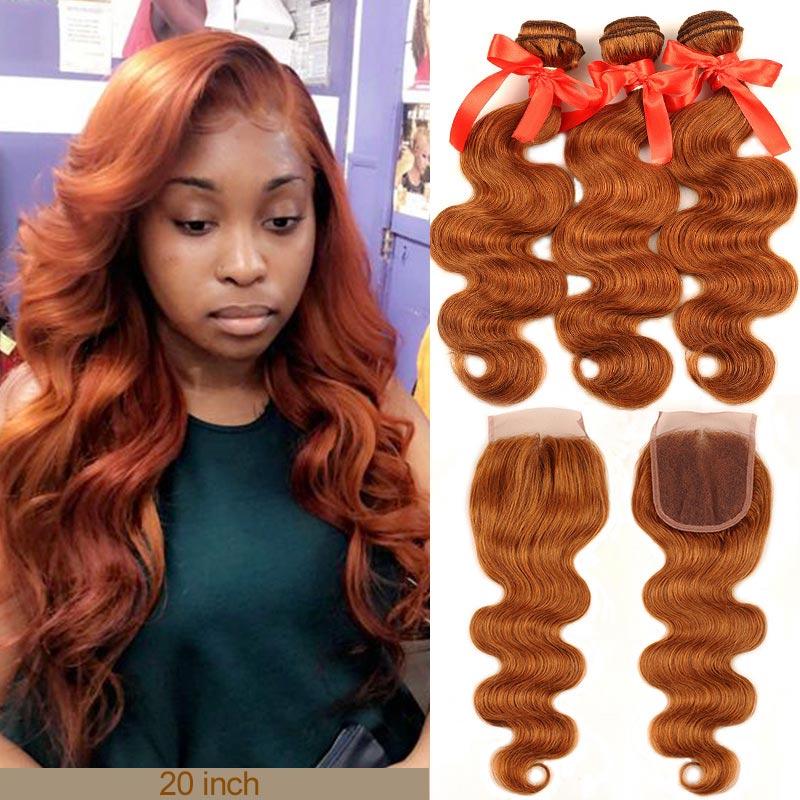 Pinshair медовые светлые пряди с закрытием, бразильские волнистые пучки с закрытием, 30 цветов, человеческие волосы, Реми, без линяющих волос