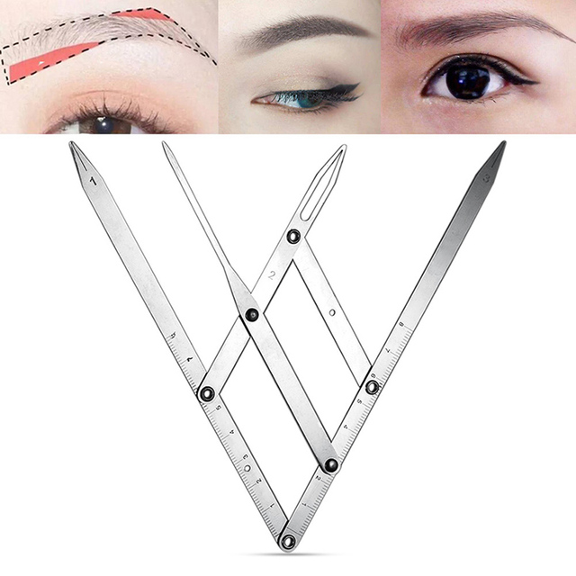Newly Eyebrow Tattoo Ruler Golden Ratio Permanent Grooming Stencil Shaper Symmetrical Stainess Steel Tool CLA88 4