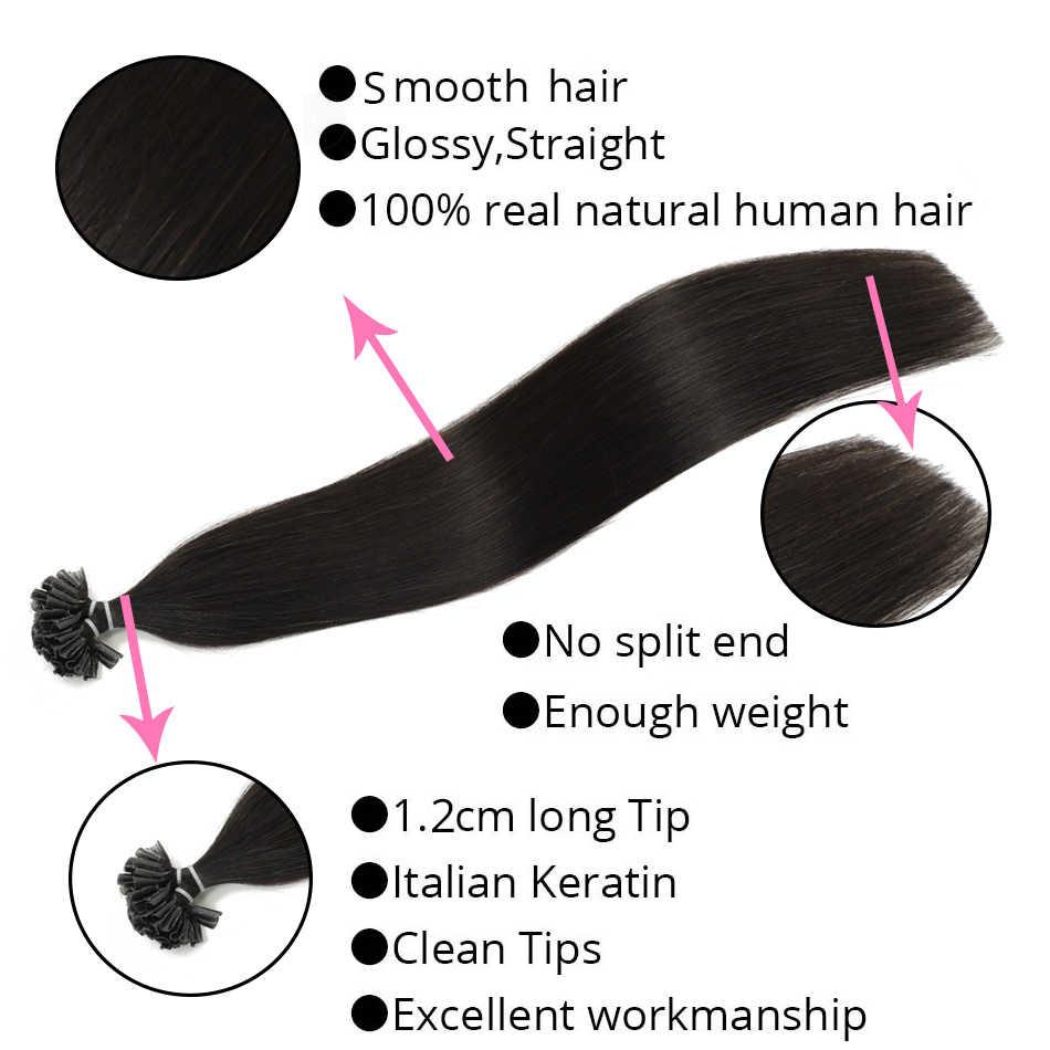 Uitverkoop 14 Inch U/Nail Tip Hair Extensions Straight Fusion Keratine Hair Extension 100% Menselijk Haar Nonremy Pure kleur 50Pc