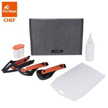 Fuoco Maple Chef di Cucina Utensile Kit Auto Esterno di Campeggio Articoli per La Tavola Set Con Il Cucchiaio Spatola Clip