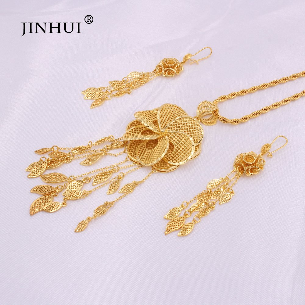 Dubai 24K gold color Jewelry sets for Women Indian Ethiopia Necklace Pendant Earrings set Africa Saudi Arabia wedding Party gift