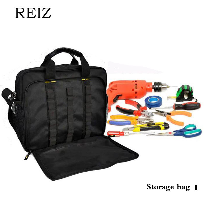 REIZ Canvas Tool Bags Multifunction Men Oxford Tool Bags For Electrician With Laptop Maintenance Product