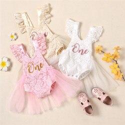 Baby Mädchen Ersten Geburtstag Party Spitze Kleid Nette Ärmel Brief Drucken Overalls Infant Tutu Kleider Baby Mädchen Taufe Kleidung