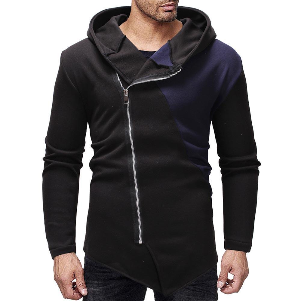 Fashion Men's Oblique Zip Up Splicing Irregular Hooded Long Sleeve Men Casual Hoodie Pullover