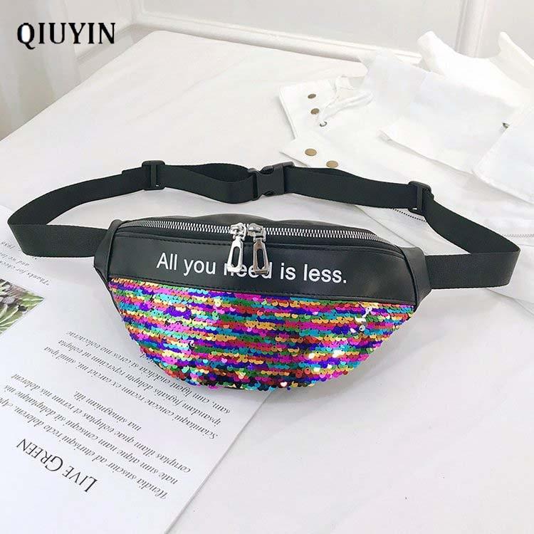 Qiuyin Korean Holographic Premium Fanny Pack Women Waist Bag Cross Body Glitter Purse Reversible Sequin Bag Waterproof Premium