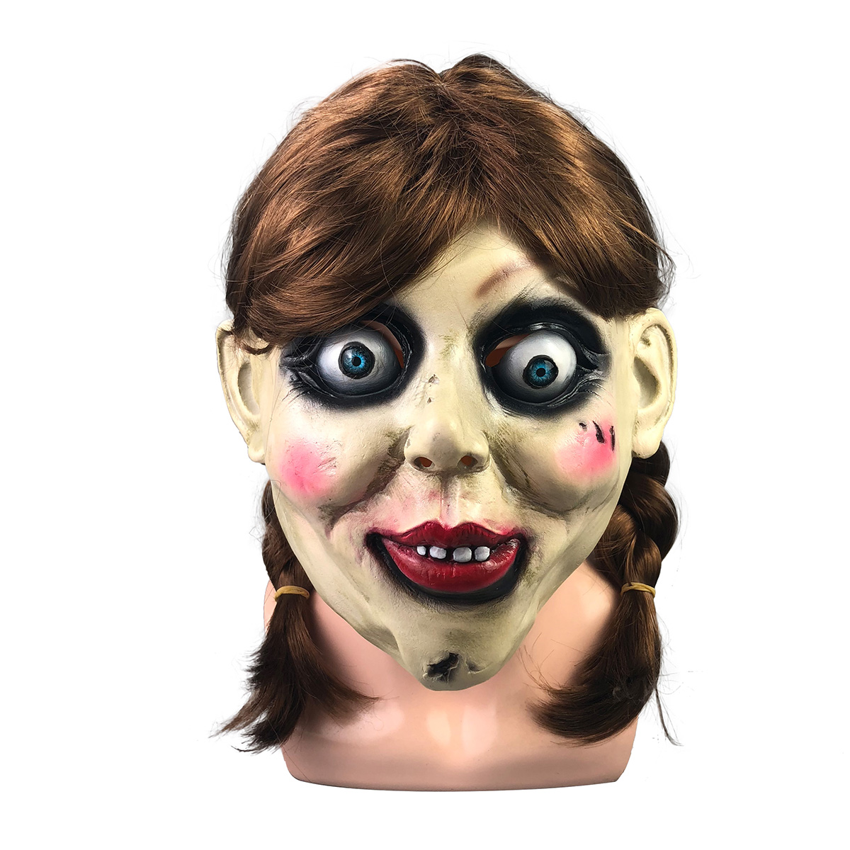 Yacn NEW Annabelle Cosplay Mask Latex Cosplay Halloween Scary Movie Adult Full Head Latex Wigs Ponytails Props Party image