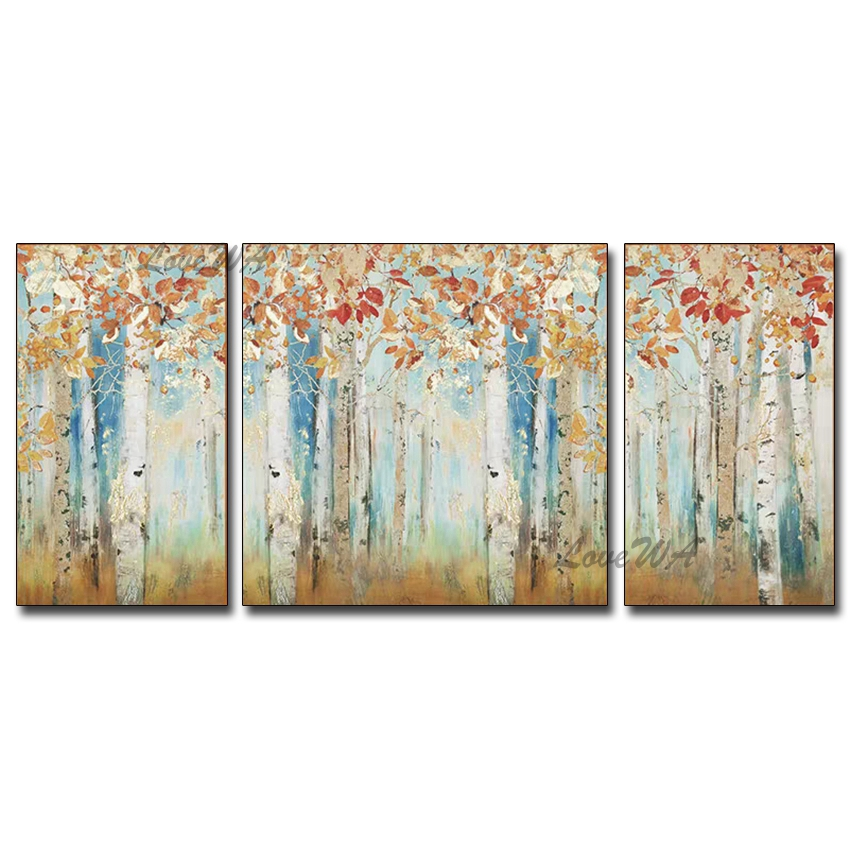 Modern Abstract 3 Group Textured Tree Oil Painting Art Canvas Wall Hangings Paintings Artwork Home Showpiece For Living Room