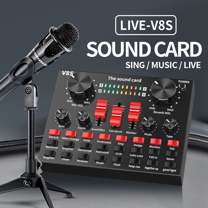 12 Kinds of Electric Sound Audio Set Interface External Usb Live Microphone Sound Card Bluetooth Function for Computer Pc Mobile Phone Sing Mini Portable Sound Card