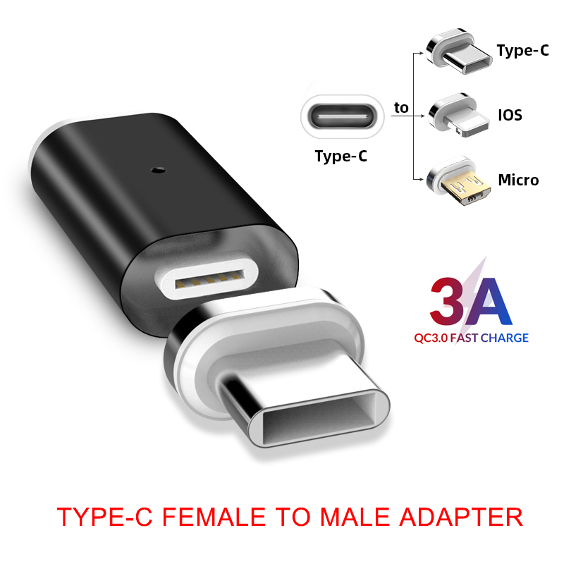 Magnetic USB-C Adapter Type C Female To Male Converter For IPhone Xiaomi Huawei SAMSUNG S10 Plus S9 Phone Charging Connector