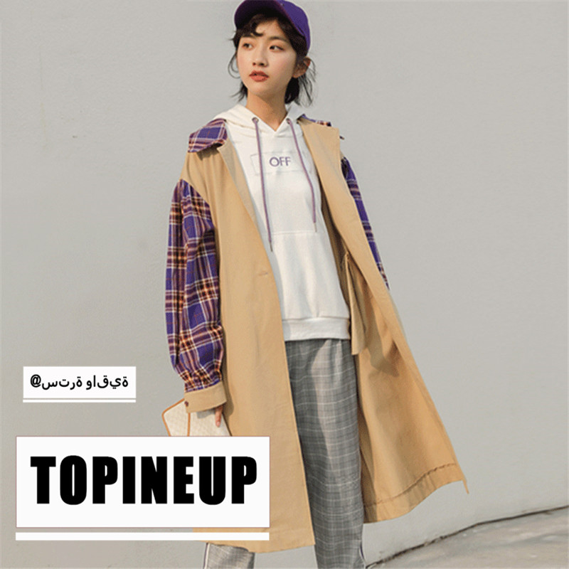 2019 Korean Style Thin Casual Plaid Windbreaker Patchwork Loose Fashion New Full Sleeve Long   Trench   Coat