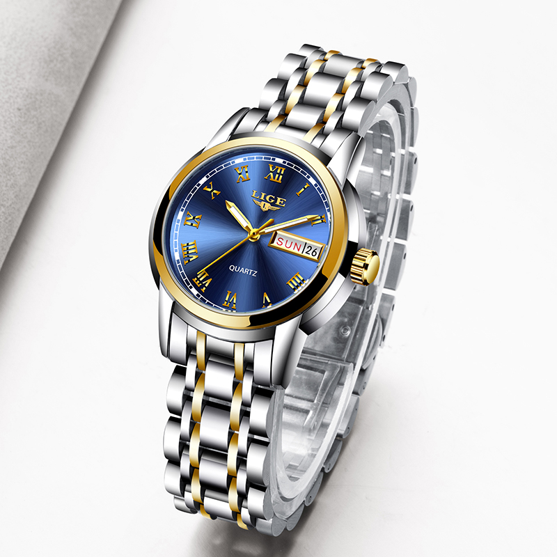 LIGE Fashion Women Watches Gold Blue Ladies Bracelet Watches Reloj Mujer 2020 New Creative Waterproof Quartz Watch For Women+Box
