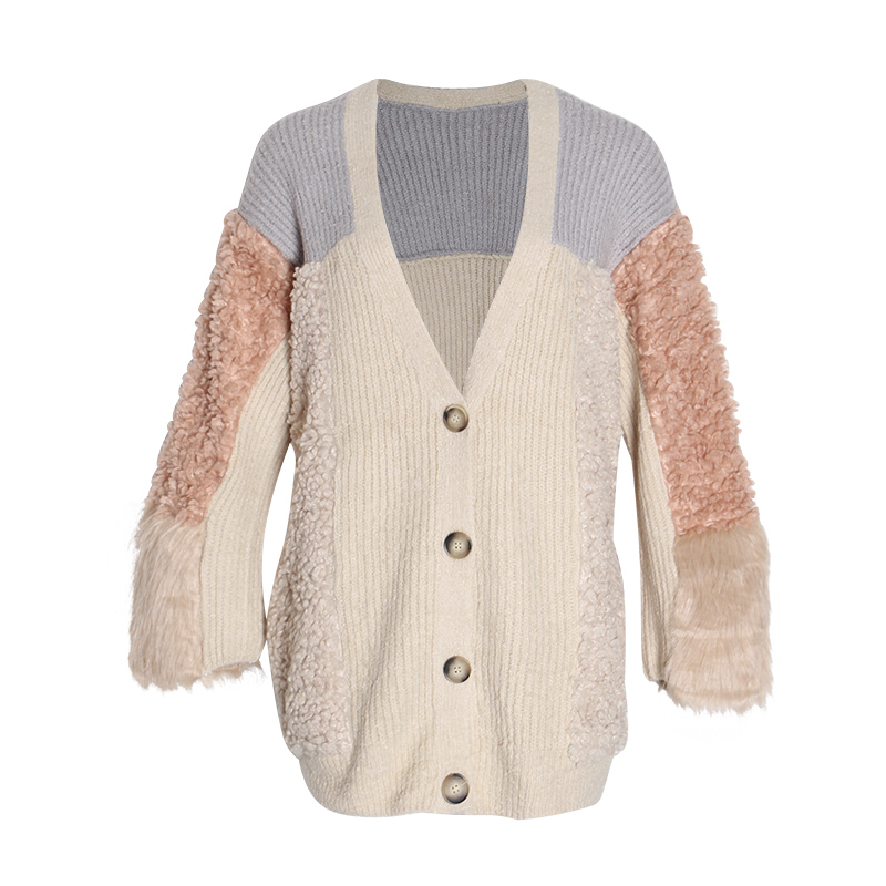 TWOTWINSTYLE Hit Color Patchwork Women's Sweater V Neck Long Sleeve Single Breasted Thick Cardigans Elegant Female Sweaters 2019
