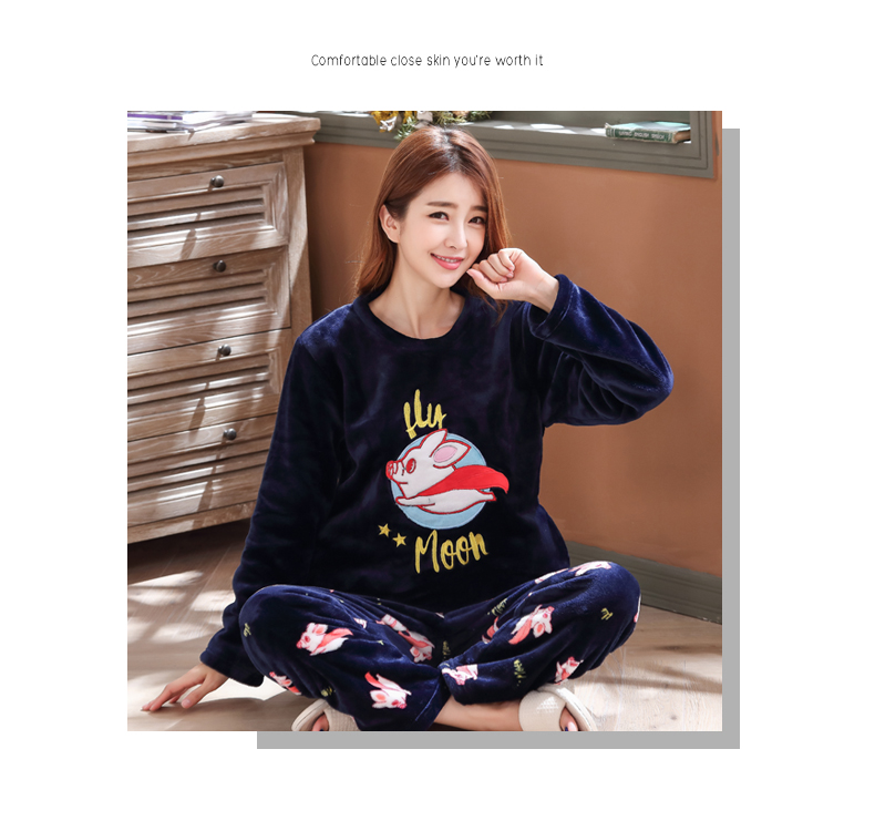 Long Sleeve Warm Flannel Pajamas Winter Women Pajama Sets Print Thicken Sleepwear Pyjamas Plus Size 3XL 4XL 5XL 85kg Nightwear 379