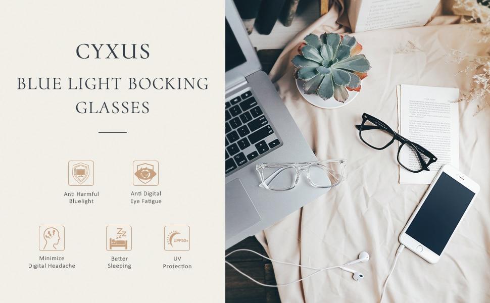 Electronics - Cyxus Blue Light Blocking Computer Glasses Anti UV Fatigue Headache Eyeglasses Clear Lens Gaming Eyewear for Men and Women