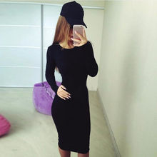 Vestido ceñido informal de manga larga para mujer, vestido negro liso básico de otoño e invierno, envío directo