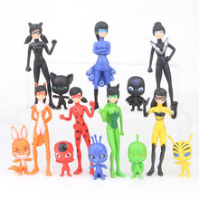 rohde 14 pcs//set ladybug ladybug cat black figure toys ladybug marinet plagg models PVC anime figures new style(China)
