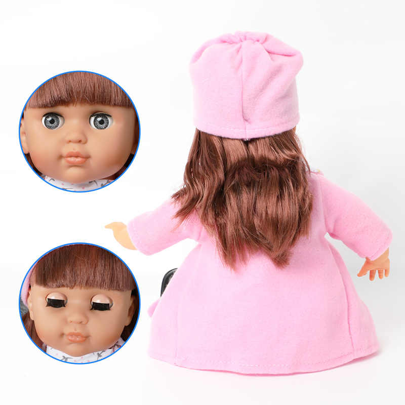 14 polegada bebe reborn boneca brinquedos de cabelo longo bebê 36cm simulação silicone macio som moda lifelike vestido boneca para brinquedos meninas presente