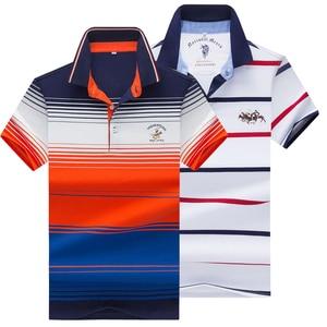Image 3 - 夏新男性ポロシャツ高品質のブランドの綿半袖メンズポロシャツビジネスカジュアルストライプシャツポロ男性トップス